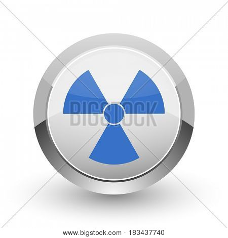 Radiation chrome border web and smartphone apps design round glossy icon.