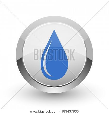 Water drop chrome border web and smartphone apps design round glossy icon.