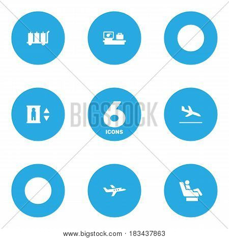 Set Of 6 Airplane Icons Set.Collection Of Aircraft, Carriage, Vip And Other Elements.