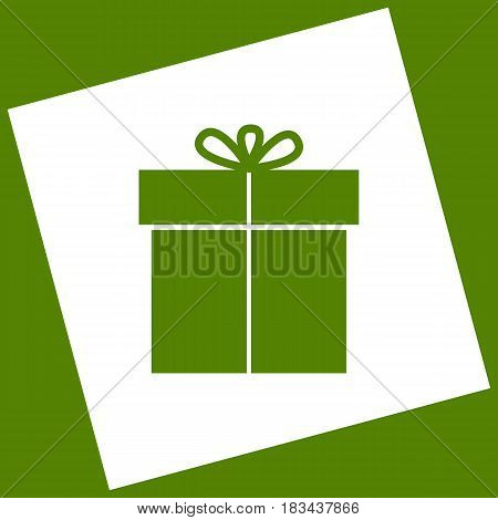 Gift sign. Vector. White icon obtained as a result of subtraction rotated square and path. Avocado background.