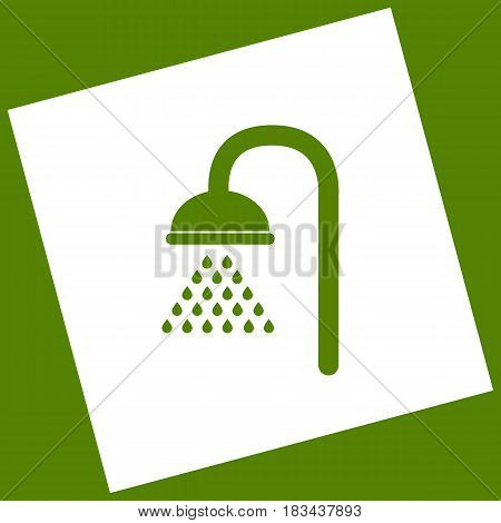 Shower sign. Vector. White icon obtained as a result of subtraction rotated square and path. Avocado background.