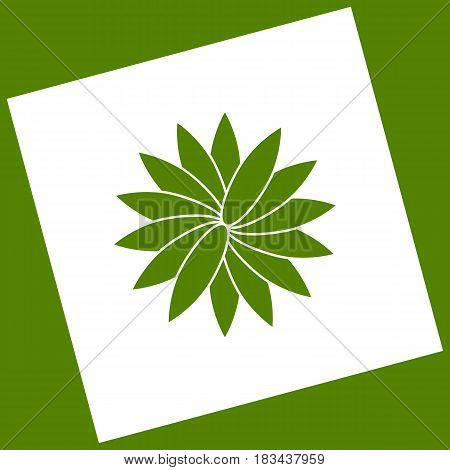 Flower sign. Vector. White icon obtained as a result of subtraction rotated square and path. Avocado background.