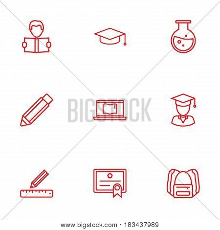 Set Of 9 Science Outline Icons Set.Collection Of Learning, Graduated, Diploma And Other Elements.