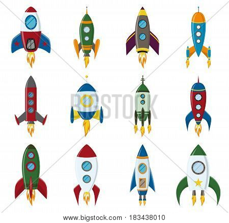 Vector retro space rocket ship icon set in a flat style. Design elements for backgrounds with project start up and development process, creative idea etc. EPS10 illustration.
