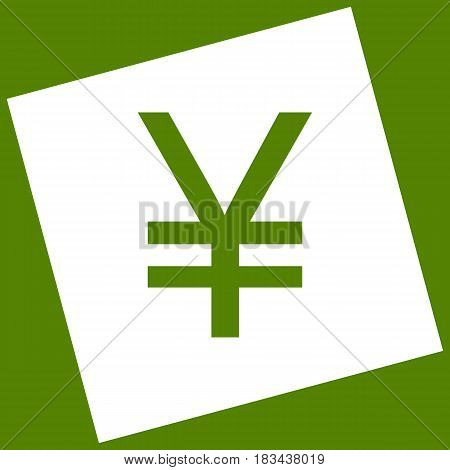 Yen sign. Vector. White icon obtained as a result of subtraction rotated square and path. Avocado background.