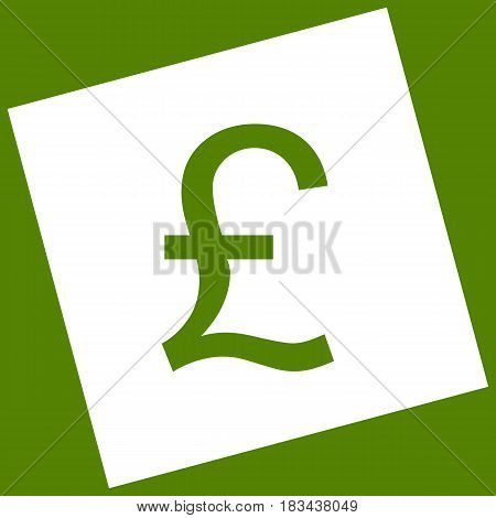 Turkish lira sign. Vector. White icon obtained as a result of subtraction rotated square and path. Avocado background.