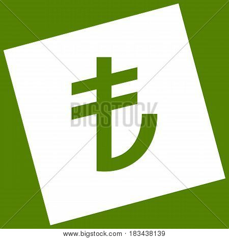 Turkiey Lira sign. Vector. White icon obtained as a result of subtraction rotated square and path. Avocado background.