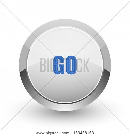 Go chrome border web and smartphone apps design round glossy icon.