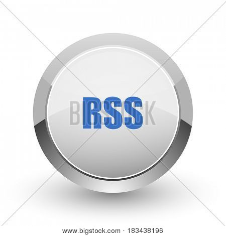 Rss chrome border web and smartphone apps design round glossy icon.
