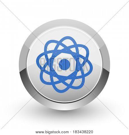 Atom chrome border web and smartphone apps design round glossy icon.