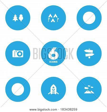 Set Of 6 Picnic Icons Set.Collection Of Signpost, Landscape , Camp Elements.