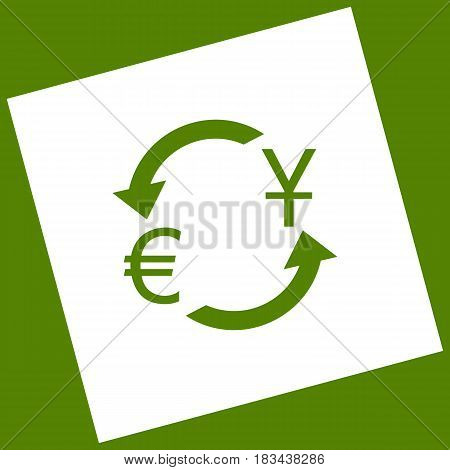 Currency exchange sign. Dollar and Euro. Vector. White icon obtained as a result of subtraction rotated square and path. Avocado background.