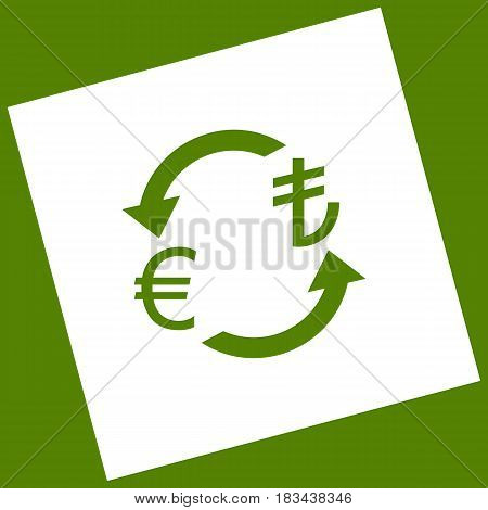 Currency exchange sign. Euro and Turkey Lira. Vector. White icon obtained as a result of subtraction rotated square and path. Avocado background.