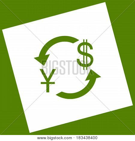 Currency exchange sign. China Yuan and US Dollar. Vector. White icon obtained as a result of subtraction rotated square and path. Avocado background.