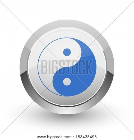Ying yang chrome border web and smartphone apps design round glossy icon.