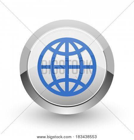 Earth chrome border web and smartphone apps design round glossy icon.