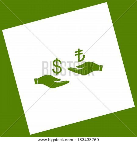 Currency exchange from hand to hand. Dollar and Turkey Lira. Vector. White icon obtained as a result of subtraction rotated square and path. Avocado background.