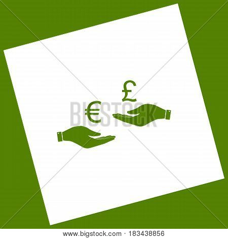 Currency exchange from hand to hand. Euro and Pound. Vector. White icon obtained as a result of subtraction rotated square and path. Avocado background.
