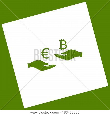 Currency exchange from hand to hand. Euro an Bitcoin. Vector. White icon obtained as a result of subtraction rotated square and path. Avocado background.