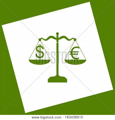 Justice scales with currency exchange sign. Vector. White icon obtained as a result of subtraction rotated square and path. Avocado background.