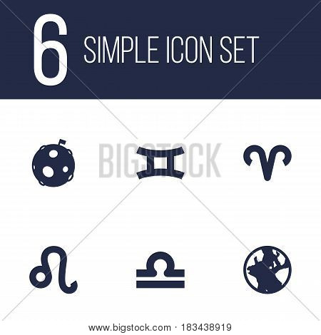 Set Of 6 Astrology Icons Set.Collection Of Scales, Earth Planet, Lion And Other Elements.