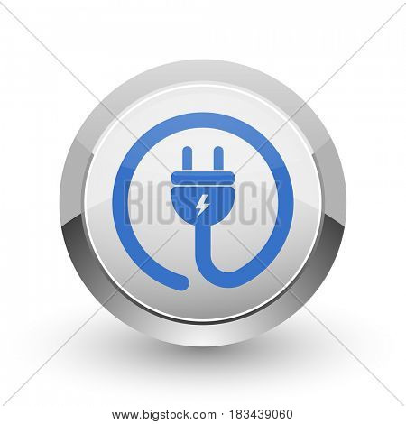 Electric plug chrome border web and smartphone apps design round glossy icon.