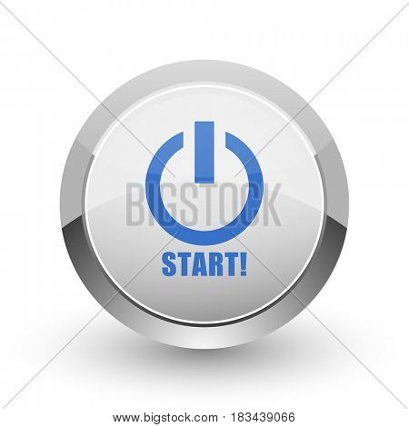 Start chrome border web and smartphone apps design round glossy icon.