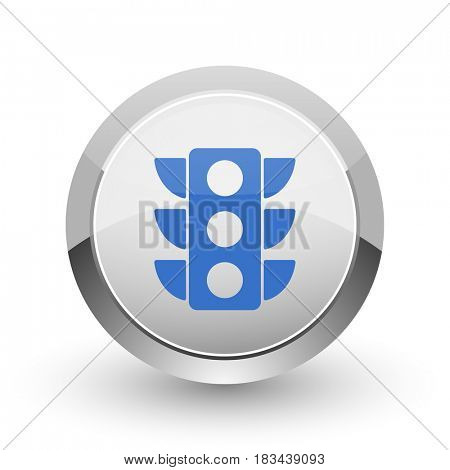 Traffic lights chrome border web and smartphone apps design round glossy icon.