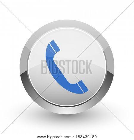 Phone chrome border web and smartphone apps design round glossy icon.