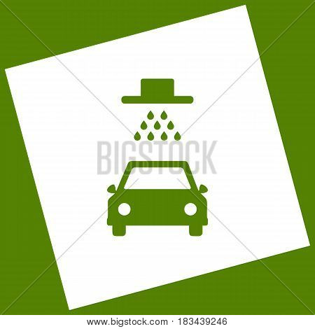 Car wash sign. Vector. White icon obtained as a result of subtraction rotated square and path. Avocado background.