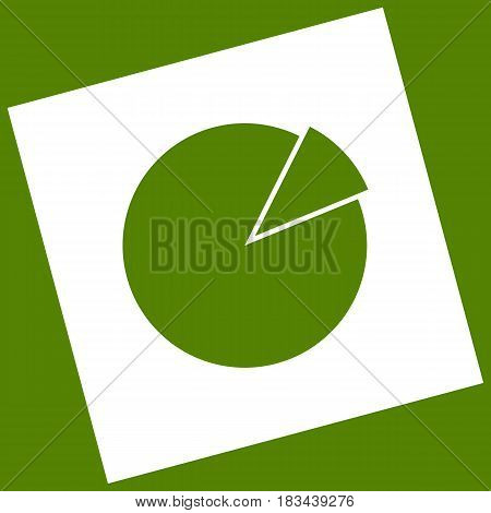 Finance graph sign. Vector. White icon obtained as a result of subtraction rotated square and path. Avocado background.