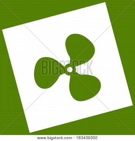 Fan sign. Vector. White icon obtained as a result of subtraction rotated square and path. Avocado background.