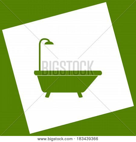 Bathtub sign. Vector. White icon obtained as a result of subtraction rotated square and path. Avocado background.
