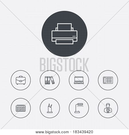 Set Of 9 Bureau Outline Icons Set.Collection Of Document Case, Printing Machine, Pen Storage And Other Elements.