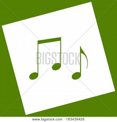 Music notes sign. Vector. White icon obtained as a result of subtraction rotated square and path. Avocado background.