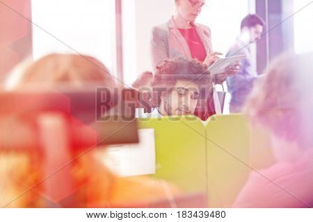 Multi-ethnic business people working in office