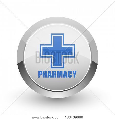Pharmacy chrome border web and smartphone apps design round glossy icon.