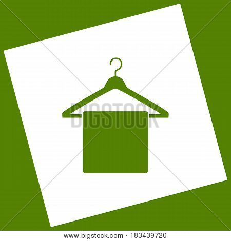 Towel On Hanger sign. Vector. White icon obtained as a result of subtraction rotated square and path. Avocado background.