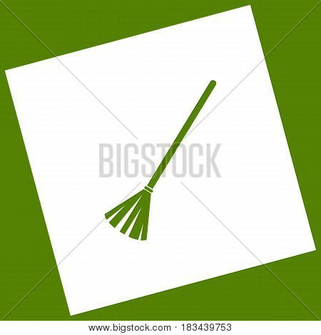 Sweeping broom sign. Vector. White icon obtained as a result of subtraction rotated square and path. Avocado background.