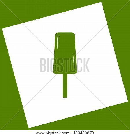 Ice Cream sign. Vector. White icon obtained as a result of subtraction rotated square and path. Avocado background.