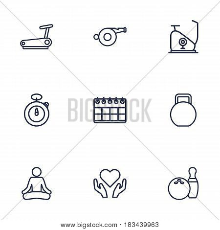 Set Of 9 Fitness Outline Icons Set.Collection Of Bowling, Calendar, Exercise Bike And Other Elements.