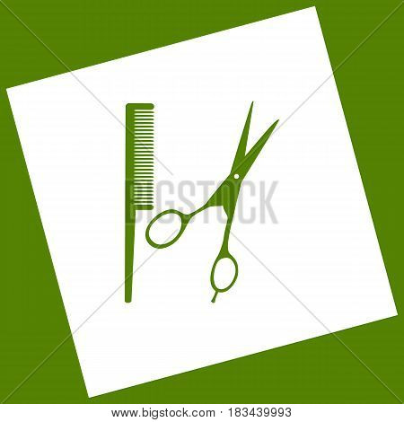 Barber shop sign. Vector. White icon obtained as a result of subtraction rotated square and path. Avocado background.