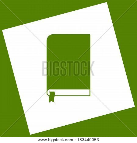 Book sign. Vector. White icon obtained as a result of subtraction rotated square and path. Avocado background.