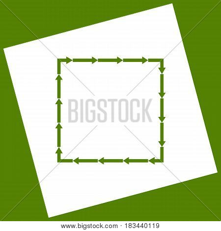 Arrow on a square shape. Vector. White icon obtained as a result of subtraction rotated square and path. Avocado background.