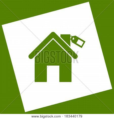 Home silhouette with tag. Vector. White icon obtained as a result of subtraction rotated square and path. Avocado background.