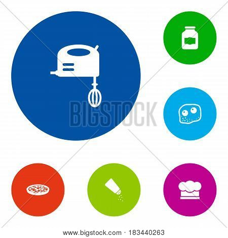 Set Of 6 Cooking Icons Set.Collection Of Blender, Chef Cap, Eggs And Other Elements.