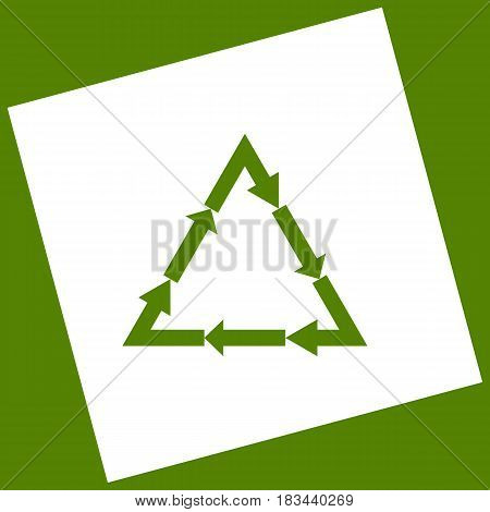 Plastic recycling symbol PVC 3 , Plastic recycling code PVC 3. Vector. White icon obtained as a result of subtraction rotated square and path. Avocado background.