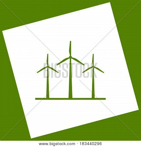 Wind turbines sign. Vector. White icon obtained as a result of subtraction rotated square and path. Avocado background.