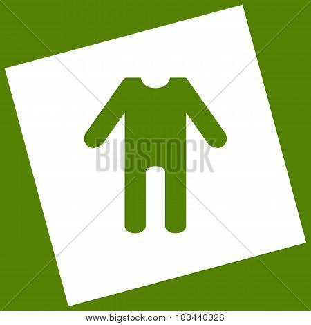 baby clothes sign. Vector. White icon obtained as a result of subtraction rotated square and path. Avocado background.