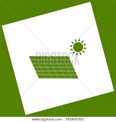 Solar energy panel. Eco trend concept sign. Vector. White icon obtained as a result of subtraction rotated square and path. Avocado background.